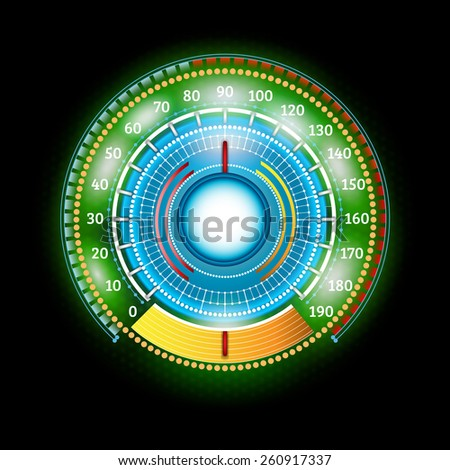 car round abstract green shiny speedometer with arrow indicators - stock vector