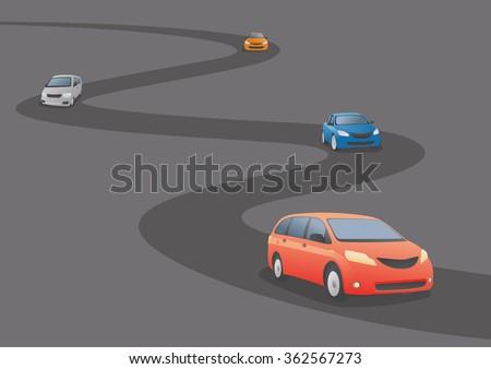 Car running a curved road, vector illustration - stock vector