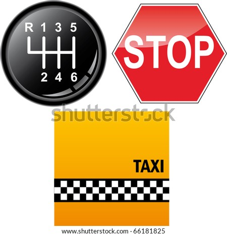 Car's gear stick, stop sign and taxi cab background - stock vector