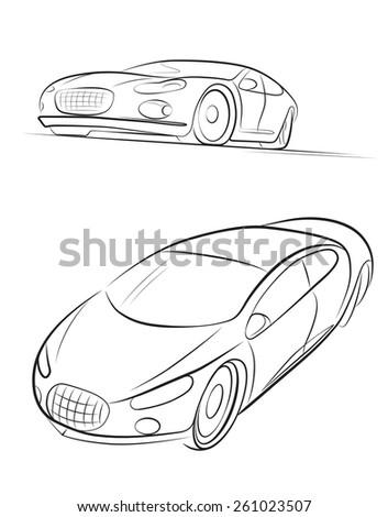 Car's silhouette. Vector illustration. - stock vector
