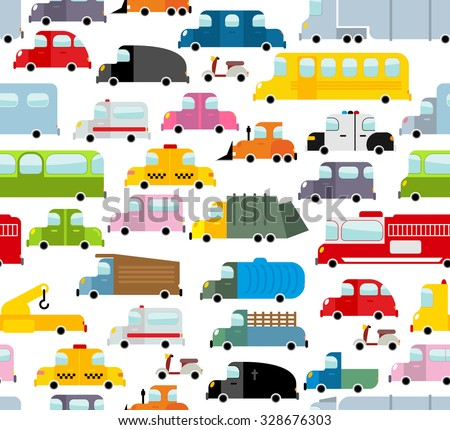Car seamless pattern. Background of transport in cartoon style. Many small toy cars. Cute transport Texture for baby fabric. School bus and taxi. Tow truck and garbage truck. - stock vector