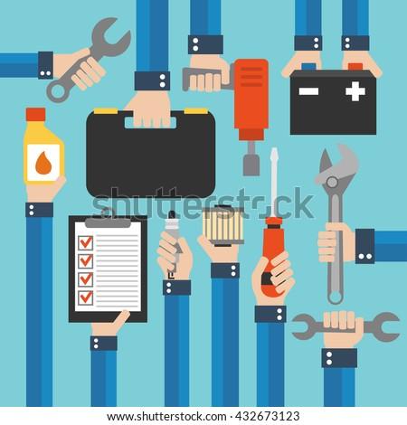 Car service and repairing equipment modern design  flat .Vector illustration - stock vector