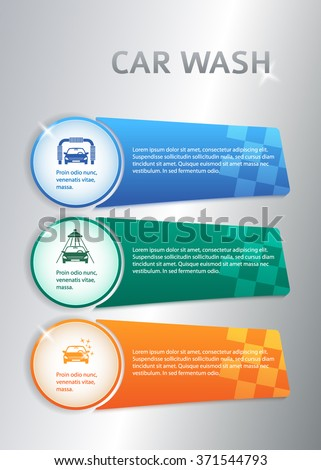 Car service business presentation template on steel background. Vector illustration EPS 10 for info-graphics, number options, web site, page layout firm automobile repair - stock vector