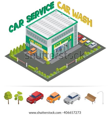 Car Service. Car Wash. Isometric Building. Isometric Transportation. Vector illustration - stock vector