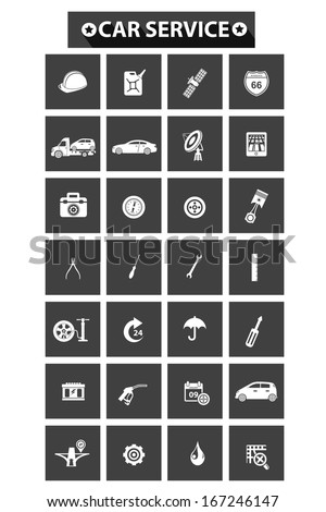 Car service concept icons,Blue version,vector - stock vector