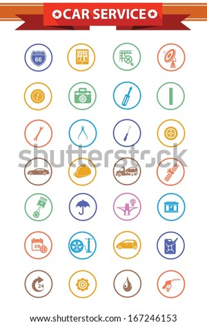 Car service concept icons,Colorful version,vector - stock vector