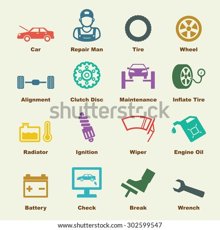 car service elements, vector infographic icons - stock vector