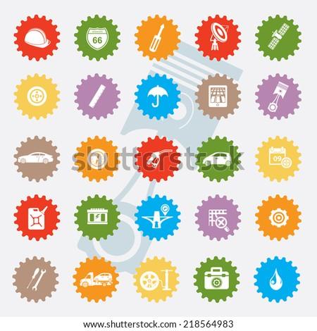 Car service icon set,colour version,clean vector - stock vector