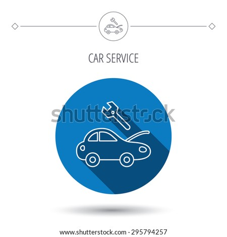 Car service icon. Transport repair with wrench key sign. Blue flat circle button. Linear icon with shadow. Vector - stock vector
