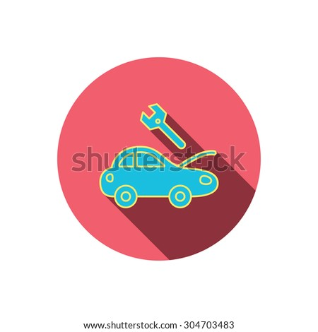 Car service icon. Transport repair with wrench key sign. Red flat circle button. Linear icon with shadow. Vector - stock vector