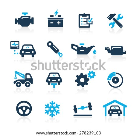 Car Service Icons // Azure Series - stock vector