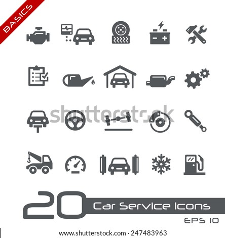 Car Service Icons // Basics - stock vector