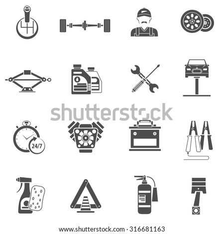 Car service icons black set with auto spare parts isolated vector illustration - stock vector