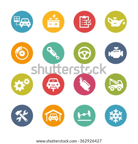 Car Service Icons // Fresh Colors Series ++ Icons and buttons in different layers, easy to change colors ++ - stock vector