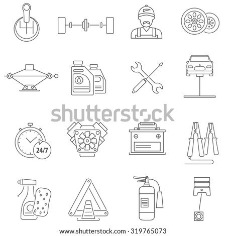 Car service icons line set with auto workshop symbols isolated vector illustration - stock vector