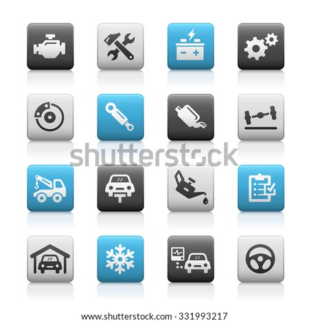 Car Service Icons // Matte Series - stock vector