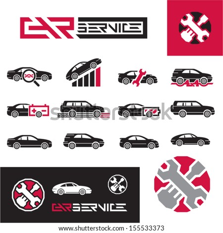 Car service icons set. - stock vector
