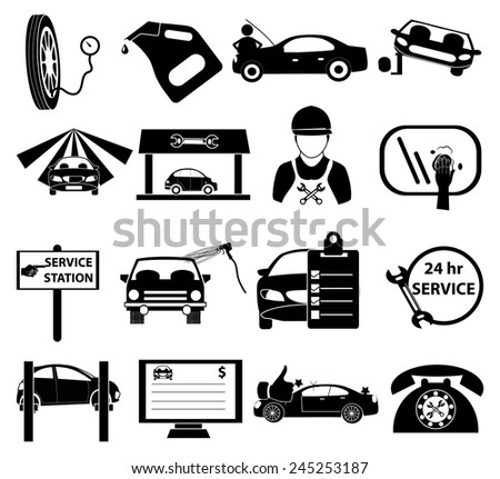Car service icons set - stock vector