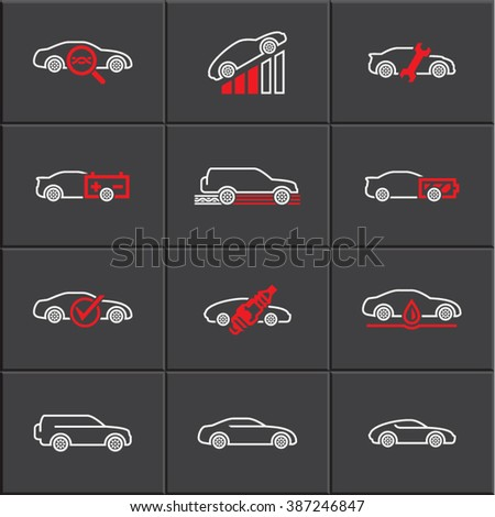 Car service icons set, vector linear icons - stock vector