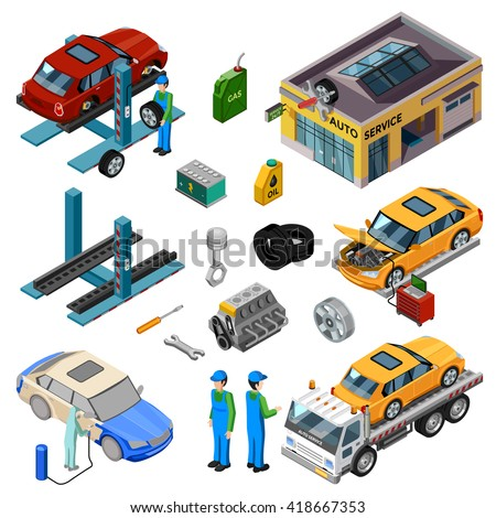Car service isometric decorative icons set with workshop tow truck jack mechanic tools for repair and working staff vector illustration  - stock vector