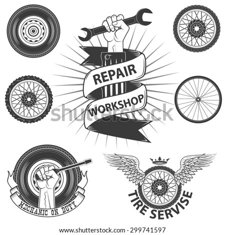car service labels and badges in vintage style.Mechanic on duty.Set of design elements in vector - stock vector