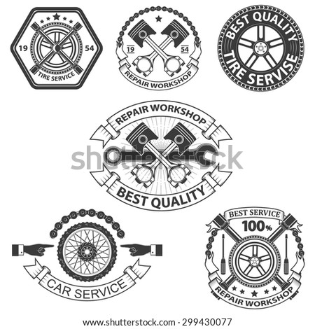 car service labels and badges in vintage style.Set of design elements in vector - stock vector