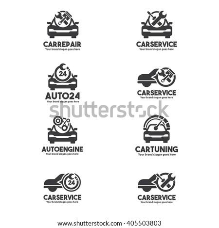 Car Service Logo set , Car repair center set, Car Service Brand Identity set - stock vector