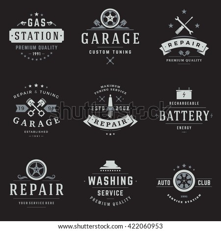 Car Service Logos Templates Set. Vector object and Icons for Garage Labels, Car Badges, Repairs Logos Design, Emblems Graphics.  - stock vector
