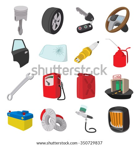 Car service maintenance cartoon icons set isolated on white background - stock vector