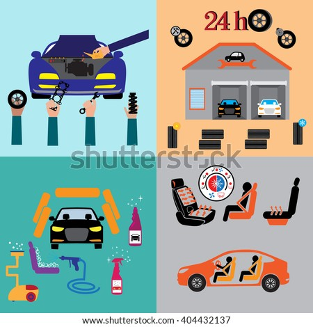 Car service maintenance icon . Car part set of repair icon vector illustration. - stock vector