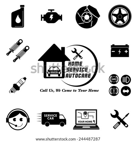 Car service maintenance icon set (Home Service Auto Care / Call Us, We come to your Home or apartment) illustration, easy to modify  - stock vector