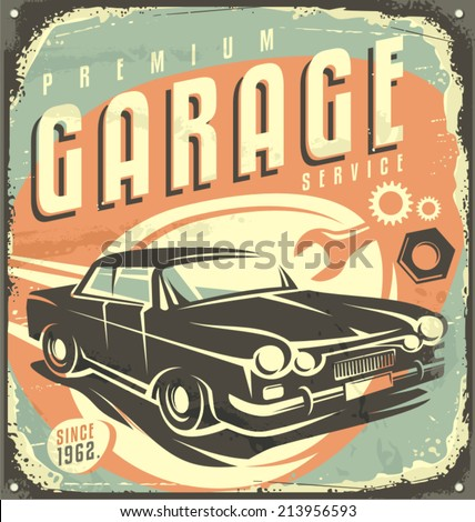Car service - Promotional retro design concept. Vintage poster design for garage service. Traditional garage vector tin sign. - stock vector