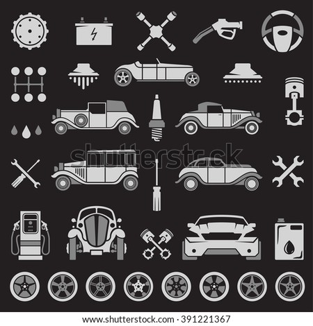 Car Service Vector Design Elements. Sport and Retro Cars Silhouettes Isolated On White Background. Vector objects for Labels, Badges, Logos Design. Car wash, Repairs Icons, Wheels and Tires Symbols. - stock vector