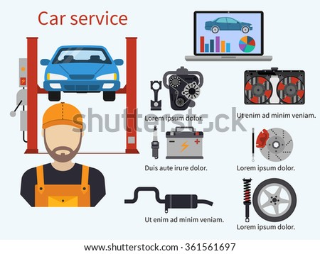 Car service with diagnostics elements, auto and mechanic. Computer diagnostics, engine, cooling, brake, suspension, exhaust.  Technical inspection car repair. Vector illustration. Template, banner. - stock vector