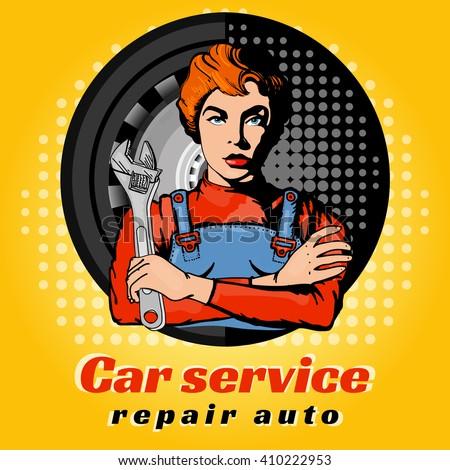 Car servise beautiful woman pop art vector illustration - stock vector