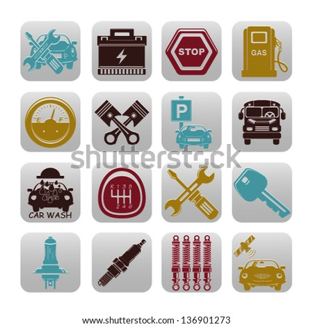 car set of icons - stock vector