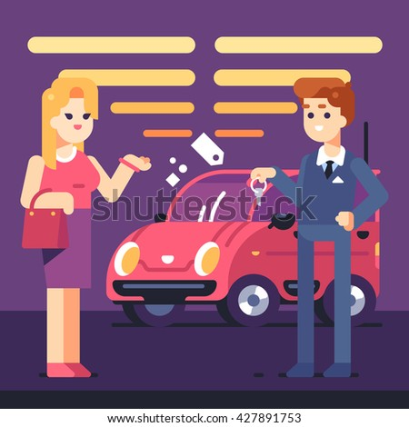 Car Showroom. Manager sells and woman buying a new car. Vector flat illustration. - stock vector