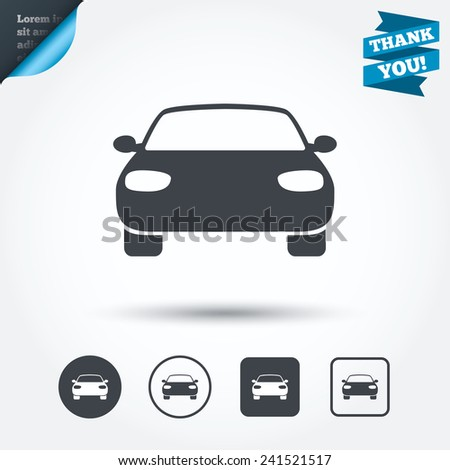 Car sign icon. Delivery transport symbol. Circle and square buttons. Flat design set. Thank you ribbon. Vector - stock vector