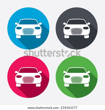 Car sign icon. Delivery transport symbol. Circle buttons with long shadow. 4 icons set. Vector - stock vector