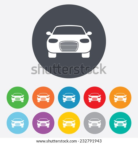 Car sign icon. Delivery transport symbol. Round colourful 11 buttons. Vector - stock vector