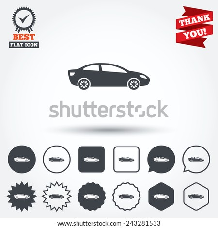 Saloon Car Type Car Sign Icon Sedan Saloon