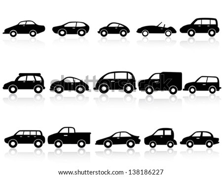 car silhouette icons - stock vector