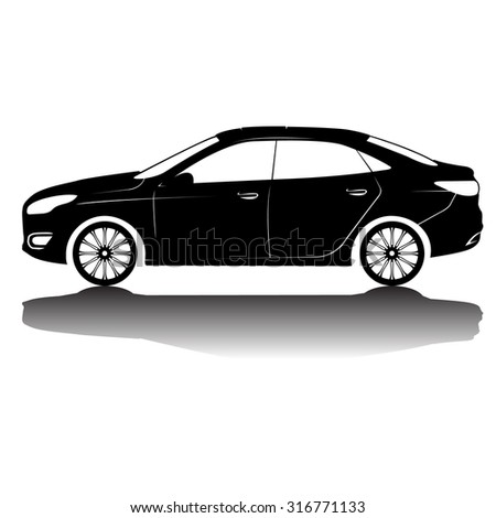 car silhouette in black with details - stock vector