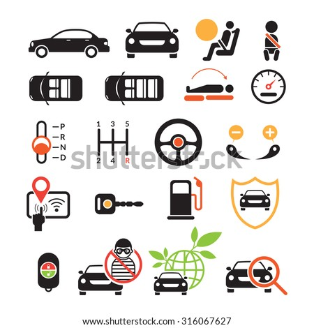 Car Specification and Performance Objects icons Set, Black ad white with Color, Automobile Function and Option - stock vector