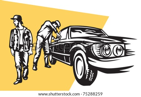 car thieves - stock vector
