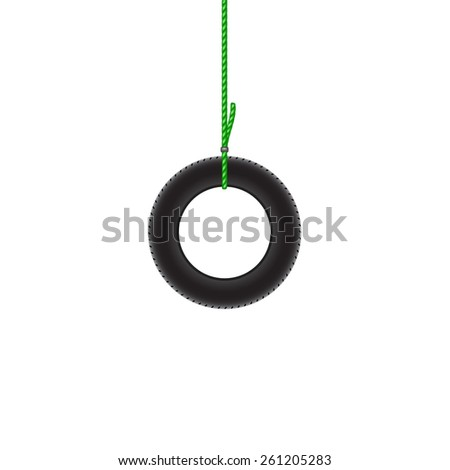 Car tire hanging on green rope - stock vector