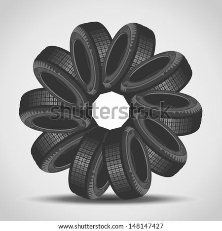Car tires arranged in a circle - stock vector