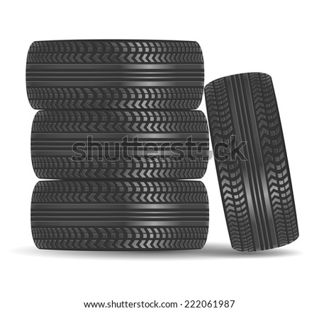 Car tires isolated on white background - stock vector