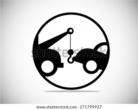 Car Towing Truck icon. Vector Illustration - stock vector