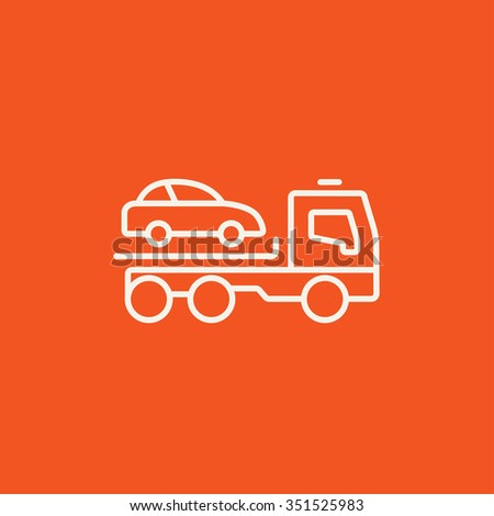 Car towing truck line icon for web, mobile and infographics. Vector white icon isolated on red background. - stock vector